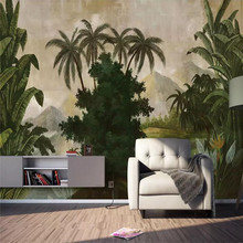 Hand-painted tropical rainforest plantain wall custom high-end mural factory wholesale wallpaper photo