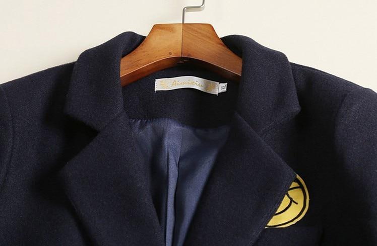 Navy Automne Manteau Laine Bleu Europen Marine Blue Imitation Longues Femelle Lâche Survêtement Hiver Classique Cachemire Mode 2018 Pardessus Femmes T0FwEq8qf