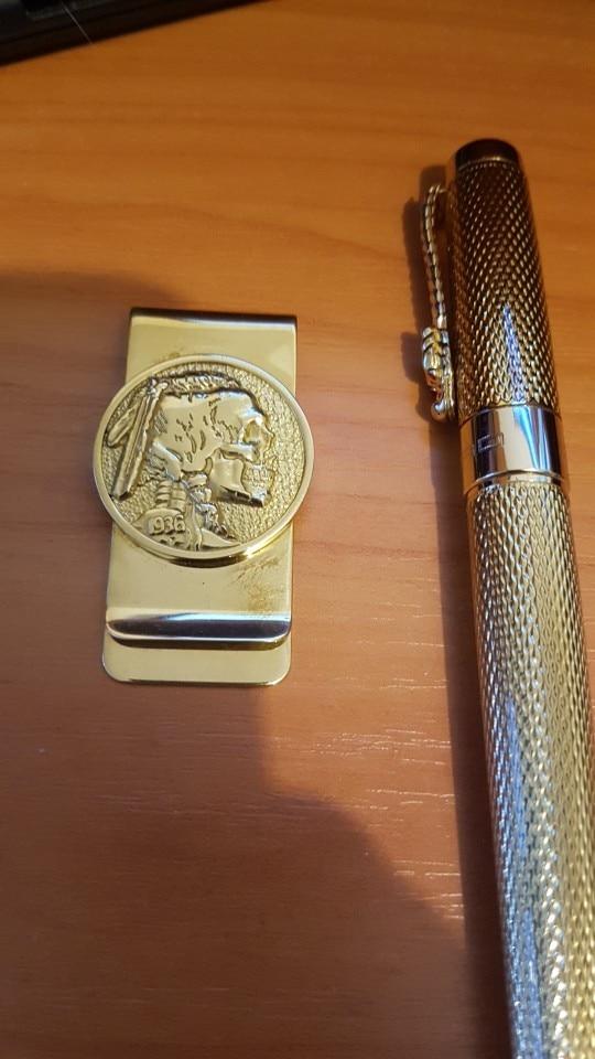 New ethnic style pure copper wallet banknotes folder bookmark paper clip metal wallet men's vintage brass money clip walletPJ002 photo review