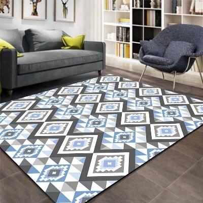 Else Gray Blue Tiles Geometric Ethnic Aztec 3d Print Non Slip Microfiber Living Room Decorative Modern Washable Area Rug Mat