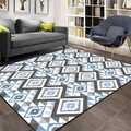 Sonst Grau Blau Fliesen Geometrische Ethnische Aztec 3d Print Non Slip Mikrofaser Wohnzimmer Dekorative Moderne Waschbar Bereich Teppich Matte