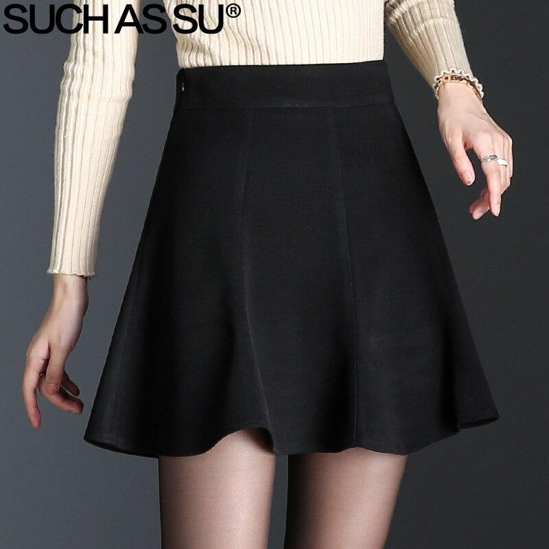 3a1b438b3435 [o] New 2018 Ruffles Woolen Skirt Women Fall Winter Black Brown High Waist  Mini Pleated Skirt S 3XL Plus Size Tutu Skirt Female-in Skirts from Women's  ...
