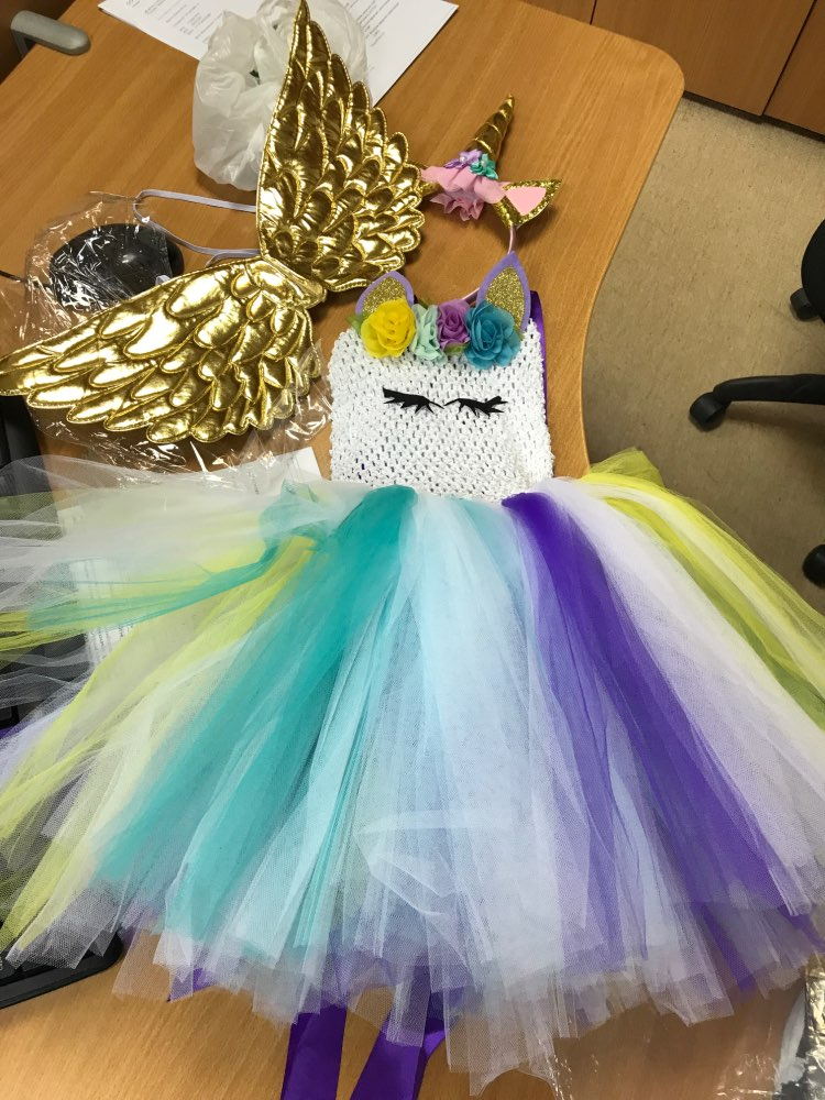 Flowers Unicorn Tutu Dress with Hair Band and Wings photo review