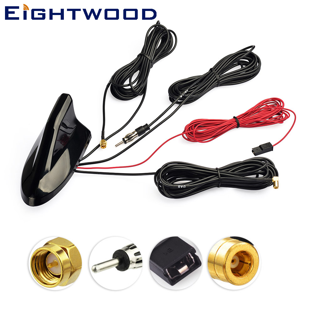 Eightwood Car Roof Top Shark Fin Amplified Antenna for GPS Navigation System DAB Digital Radio Car Stereo FM/AM Radio Combined