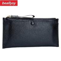 Fashion Genuine Cowhide Leather Clutch Bag Women Long Wallets Zipper Clutches Ladies Wallet Long Purse Card
