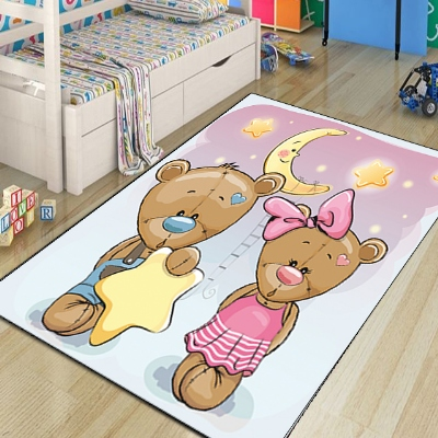 Else Pink Blue Bears Yellow Star Moon Night Modern 3d Print Non Slip Microfiber Children Kids Room Decorative Area Rug Mat