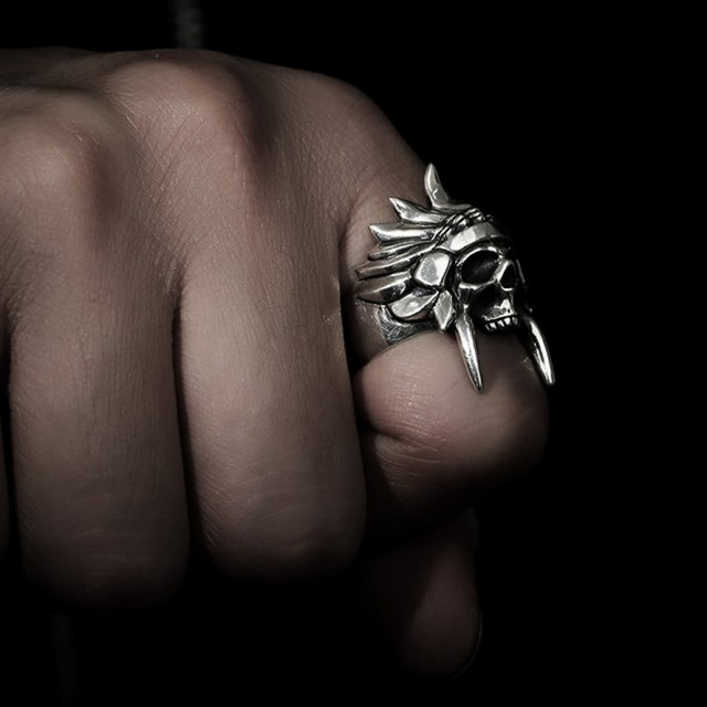 STAINLESS STEEL AFRICAN TRINAL CHIEF SKULL RINGS