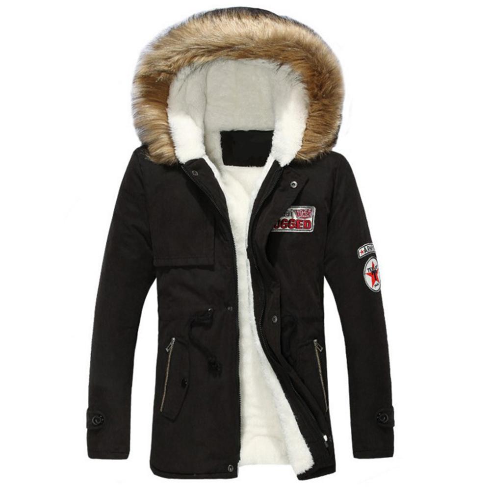 Модные Для Мужчинs Искусственный мех зимнее теплое пальто с капюшоном толстые Подпушка Верхняя одежда, куртки Топ