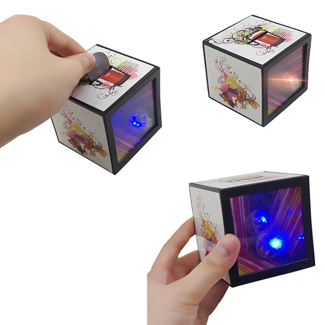 Funny Gadgets Flash Light Up Magic Box Piggy Bank Close Trick Money Props