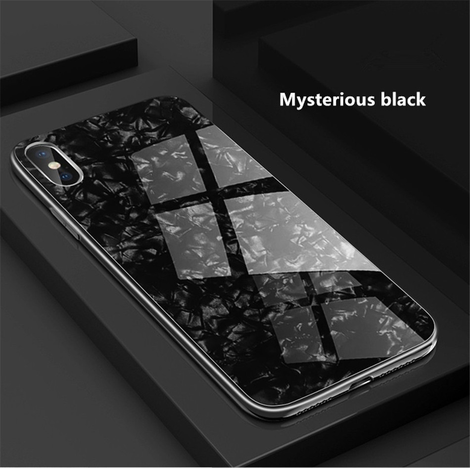Luxury Tempered Glass Geometric Case For iPhone X 7 8 Plus Soft TPU Frame Art Print Patterned  ProtectiveCover For iPhoneX 10 (12)