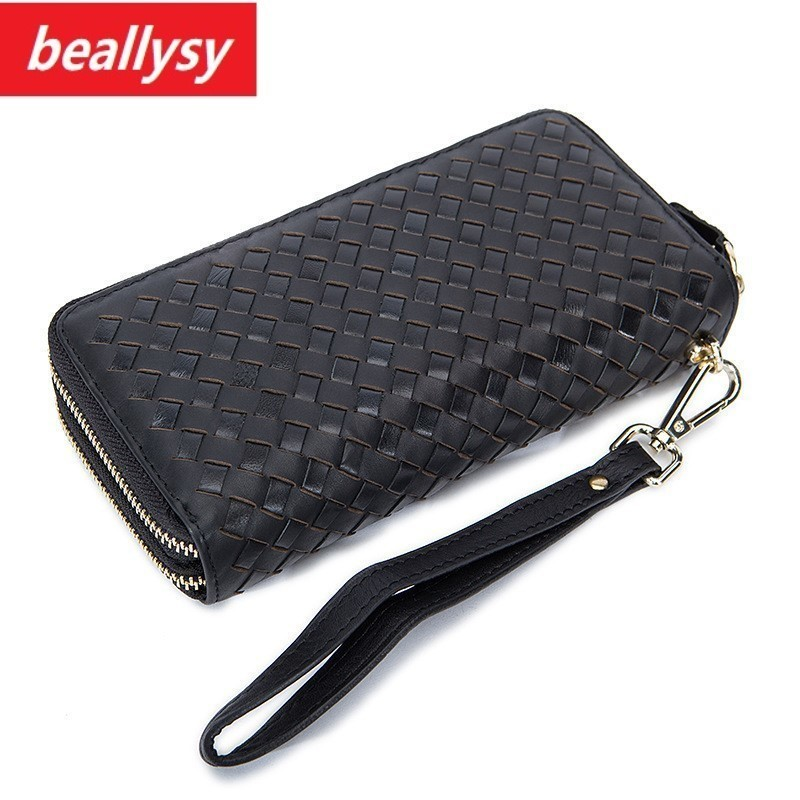 knitting Brand Men Wallets Genuine Leather Coin double Zipper Pocket Men cow leather Long Wallet Male Clutch phone Bag Man Purse contact s 100% genuine leather wallet men long vintage cow leather casual purse brand design high quality wallets cell phone bag