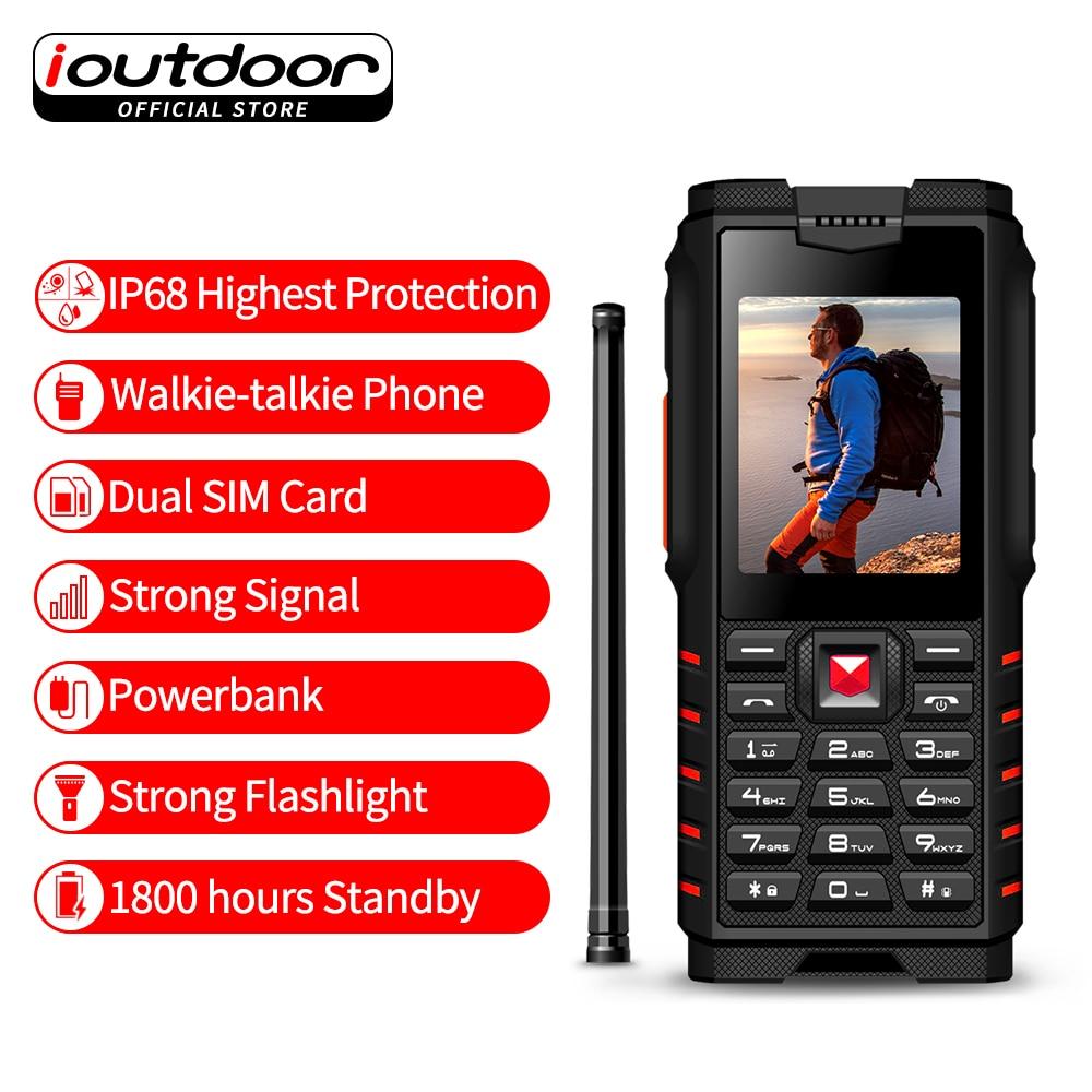 Ioutdoor T2 Telefono Cellulare Robusto IP68 Impermeabile Antiurto Resistente Al Freddo Walkie talkie Powerbank Torcia Elettrica 4500 mah tastiera Russa