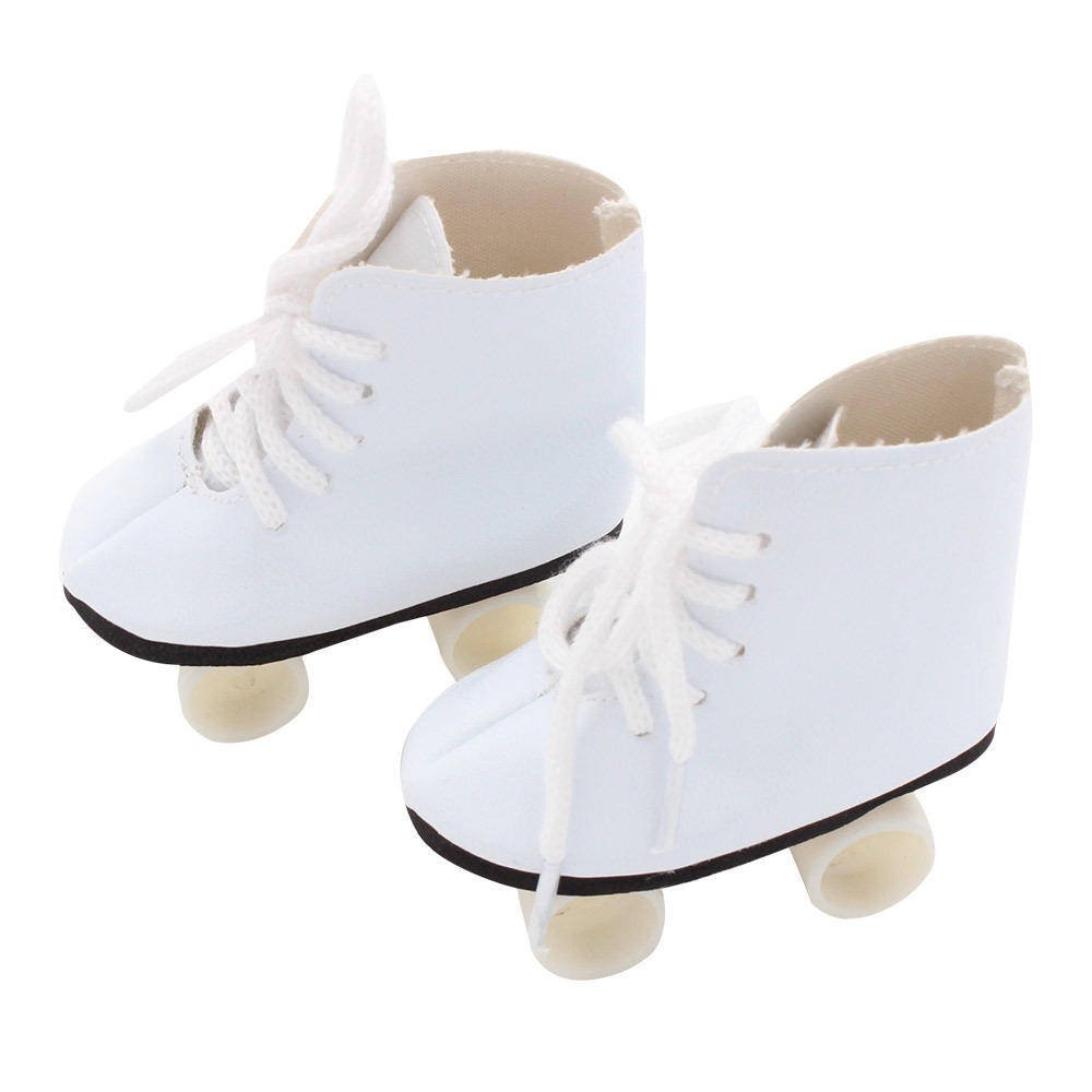 Doll Ice Skates, Fits 18 Inch American Girl Doll Shoes and More! 18 Inch Doll White Skates vik max athletic shoe women tricot lined figure ice skates shoes