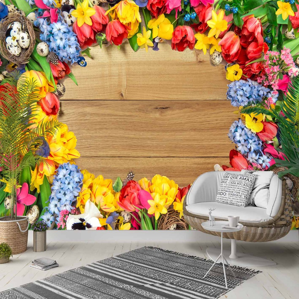 Else Yellow Red Blue Flowers Frames On Wood 3d Photo Cleanable Fabric Mural Home Decor Living Room Bedroom Background Wallpaper