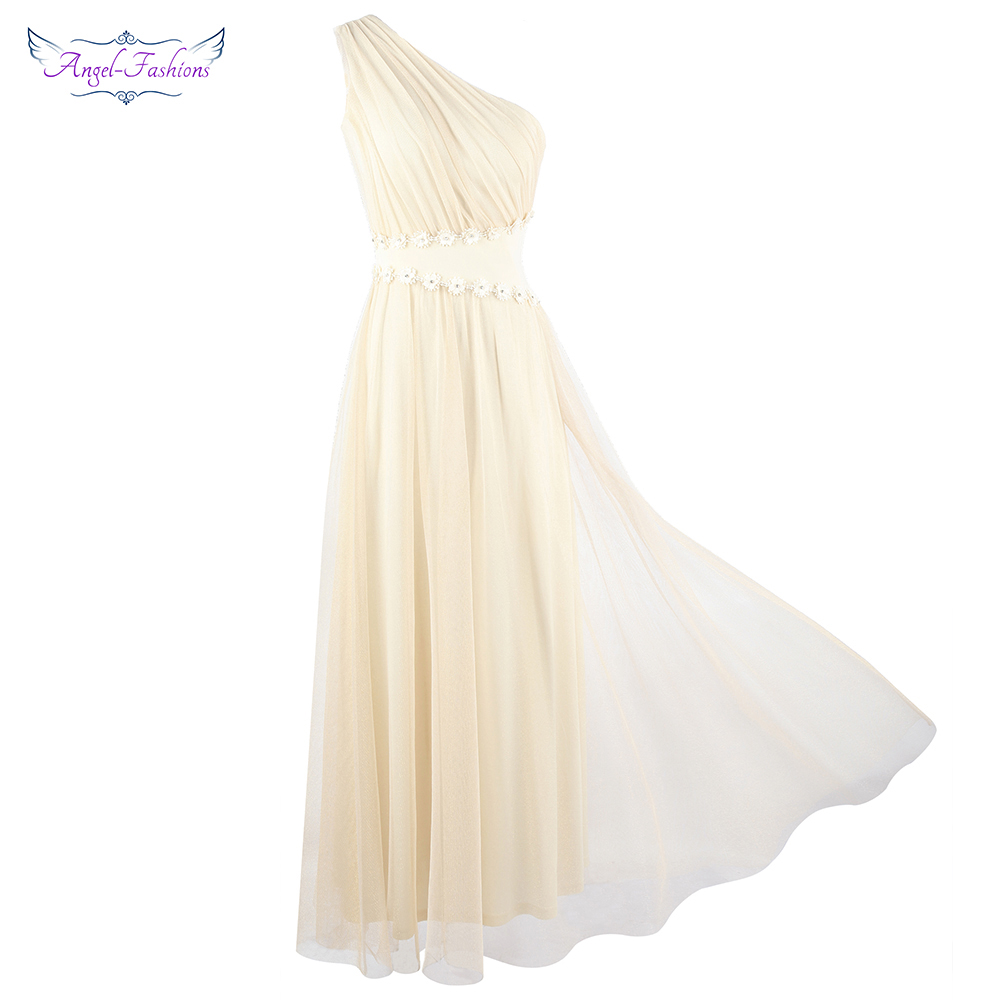 Angel-fashions Women's Appliques One Shoulder Ruched Beading  Flower A-Line Long Apricot Wedding Party Dress J-190123-S