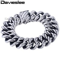 Davieslee 22mm Mens 316L Stainless Steel Bracelet Wristband Bangle Silver Tone Double Curb Cuban Link Chain