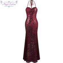 Angel-fashions Women's Halter Neck Ribbon Sequin Embroidery Mermaid Wine Red Long Evening Dress 302(China)
