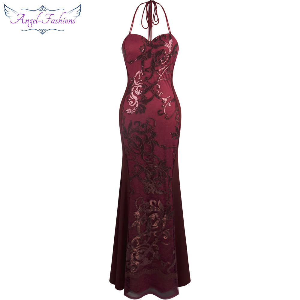 Angel-fashions Women's Halter Neck Ribbon Sequin Embroidery Mermaid Wine Red Long Evening Dress 302