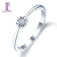 LP Natural Diamonds White Gold Wedding Engagement Ring Solid 14K Fine Fashion Gemstone Jewelry For Women's Gift New