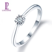 Natural Diamonds White Gold Wedding Engagement Ring Solid 14K Fine Fashion Gemstone Jewelry For Women's Gift New Lohaspie