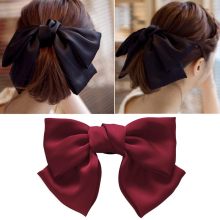 Woman Big Bowknot Hairpin With Large Spring Clip Sweet Cloth Art Horizontal Girls Hair Accessories