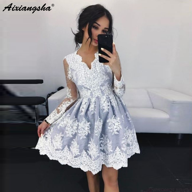 Sexy A-Line V-Neck See Through Long Sleeves Lace Pink   Evening     Dress   Short with Appliques Vintage Party   Dresses   robe de soiree