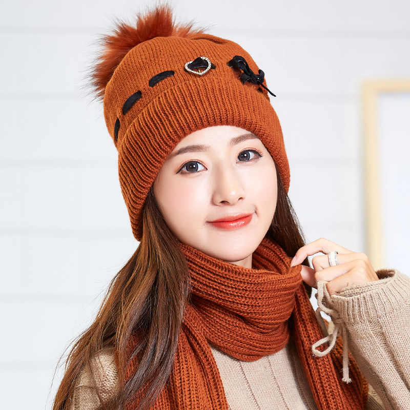 2dfa0a0ed88502 ... winter warm plush thick beanie wool ball +long knit scarf +gloves 05  three pc ...