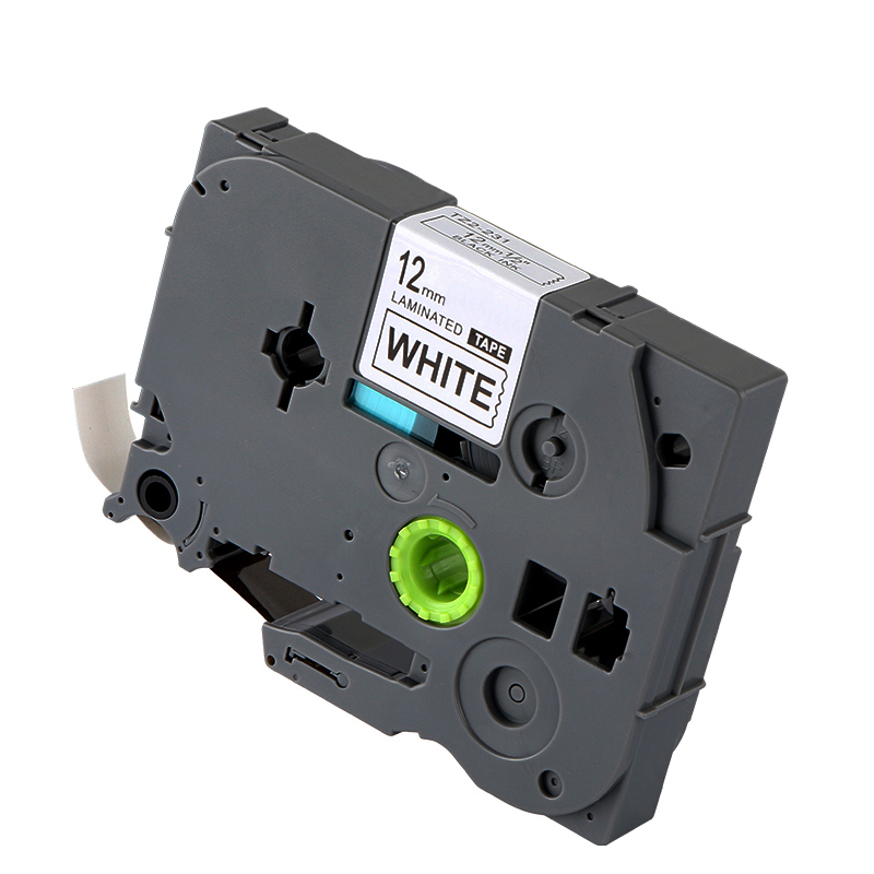 tze-231-compatible-p-touch-tze-231-label-tape-adhesive-laminated-black-on-white-12mm-8m-tze231-ribbon-cartridge