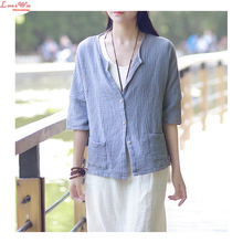 Soft Cotton Linen Artistic Loose Blouse Coat Loose Cardigans Shirt Summer Women Linen Casual Shirt Tops