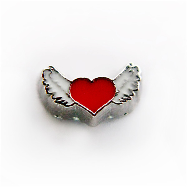 20PCS Red Wing Heart Alloy Floating Charms Fit Glass Locket Charms DIY Jewelry Accessories