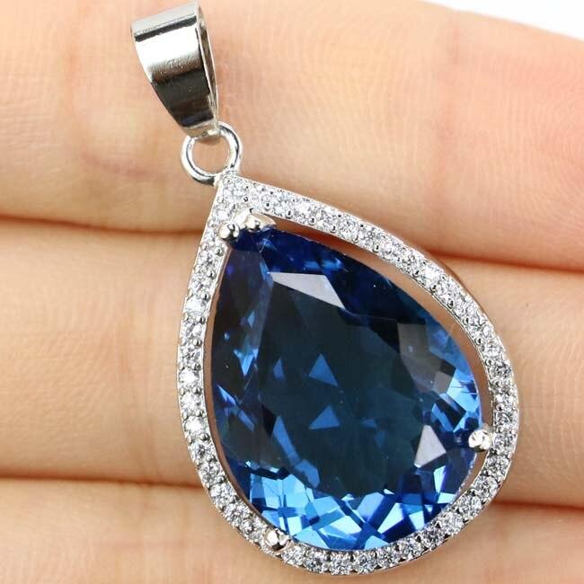 32x19mm Deluxe Big Drop Created 20x15mm London Blue Topas CZ Woman's Silver Pendant