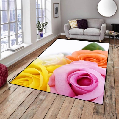 Else Pink Orange Yellow Roses Green Leaves 3d Print Non Slip Microfiber Living Room Decorative Modern Washable Area Rug Mat