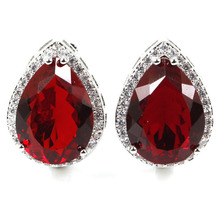 SheCrown Top AAA 18x13mm Drop Shape Red Blood Ruby White CZ Gift Girls Silver Stud Earrings 22x16mm
