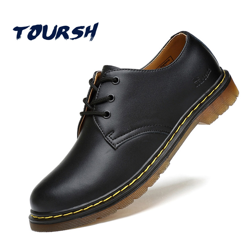 TOURSH Luxury Genuine Leather Men Shoes Brogue Lace Up Platform Fashion Man Flats Casual Male Shoes Black Brown Red Plus Size 44 good quality men genuine leather shoes lace up men s oxfords flats wedding black brown formal shoes