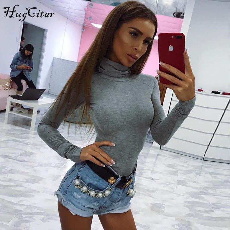 Hugcitar cotton long sleeve high neck skinny warm bodysuit 2019 autumn winter women black gray solid sexy slim fit body suit