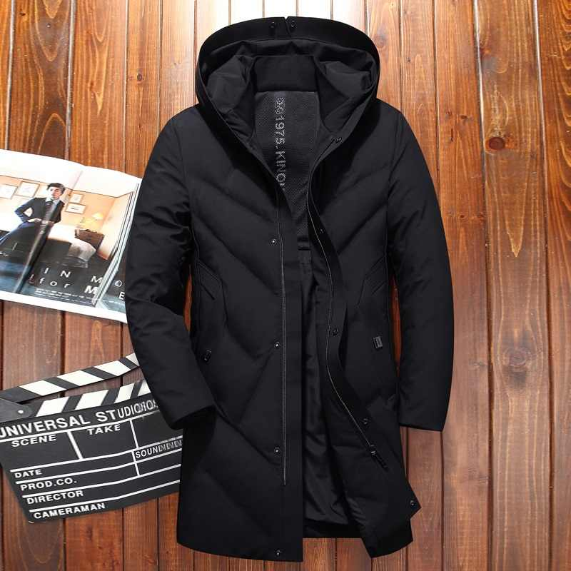 711c424e045 Black Hooded Long Duck Down Parkas Men Casual Winter Clothing Down Outwear Male  Thick Down Coat