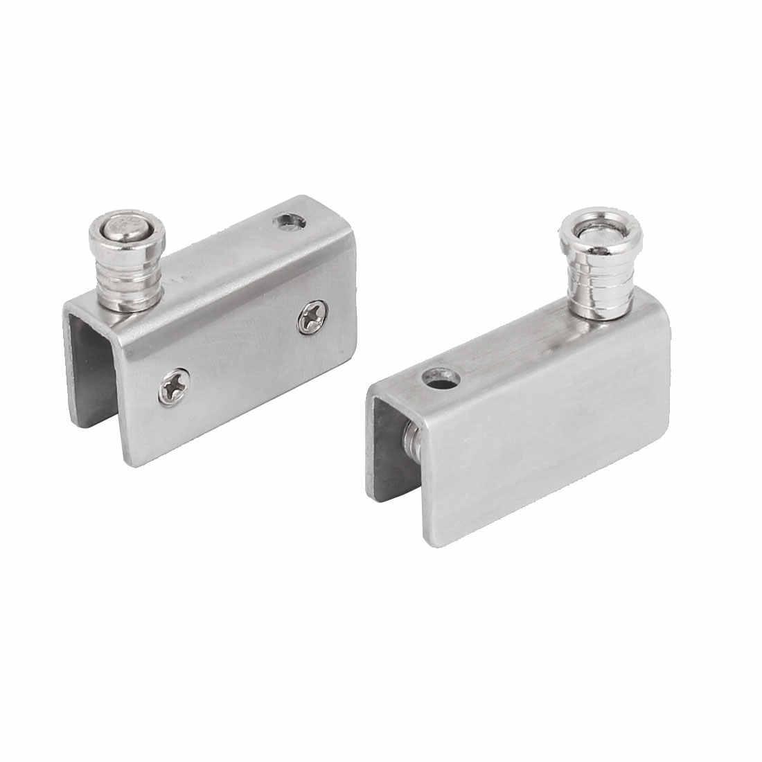 Shower Adjustable Stainless Steel D Shaped Glass Clamp Clip Door Hinge 8mm-13mm