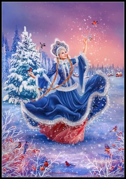 The Snow Maiden - Counted Cross Stitch Kits - DMC Color DIY Handmade Needlework for Embroidery 14 ct Cross Stitch Sets