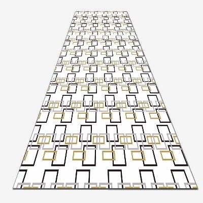 Else Black Yellow Rectangle Geometric Lines 3d Print Non Slip Microfiber Washable Long Runner Mat Floor Mat Rugs Hallway Carpets