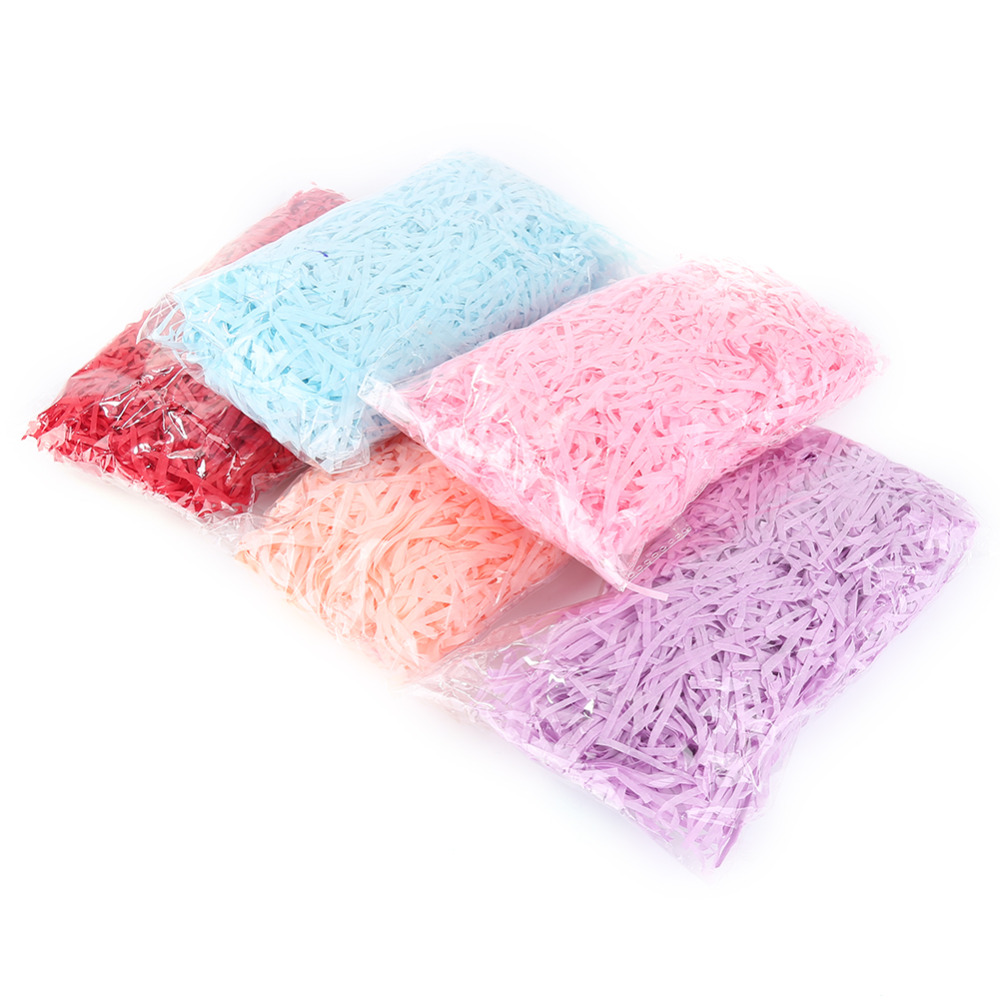 Colorful Shredded Paper Raffia Gift Box Filler Wedding Party Unicorn Party Decoration Crinkle Cut Paper Shred Packaging Gift Bag(China)