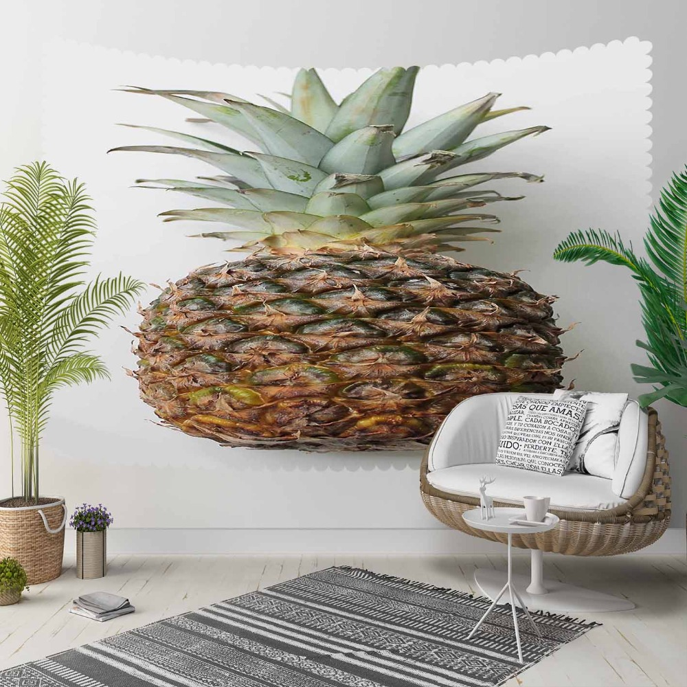 Else White Floor On Brown Pineapple Green Leaves 3D Print Decorative Hippi Bohemian Wall Hanging Landscape Tapestry Wall Art