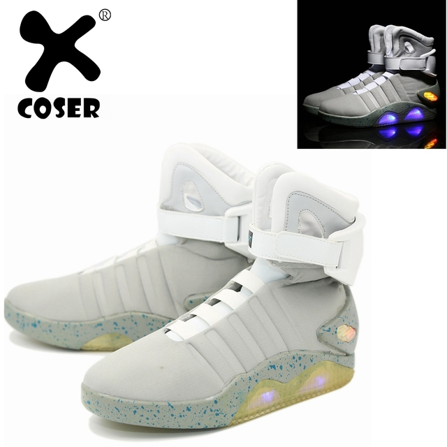 f35bce778ecc38 XCOSER Back to The Future 2 Marty McFly Shoes Light Up Mens Sneakers Sport  Shoes Movie  Back to the Future Cosplay Costume Prop