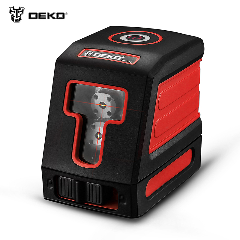 Laser level DEKO DKLL11 Mini Style Self-Leveling Laser Level Cross Line Laser With Red Light Source & Adjustable Mounting Clamp ootdty 3 line 3 dots 360degree self leveling cross laser level red level laser level tools