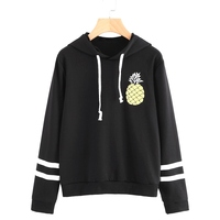 Womens Long Sleeve Striped Pineapple Top Casual Loose Splicing Colors Polyester 2017 Autumn Hoodies Pullovers