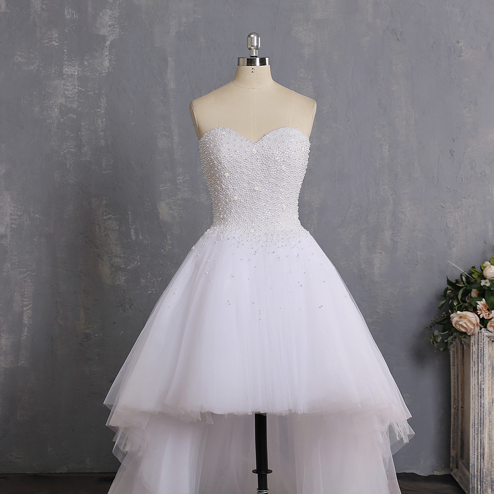 Vestidos De Novia 2019 Sweetheart Pearl High Low Wedding Dresses Imported Tulle Cheap Bride Dress Wedding Gown Robe De Mariage-in Wedding Dresses from Weddings & Events    2