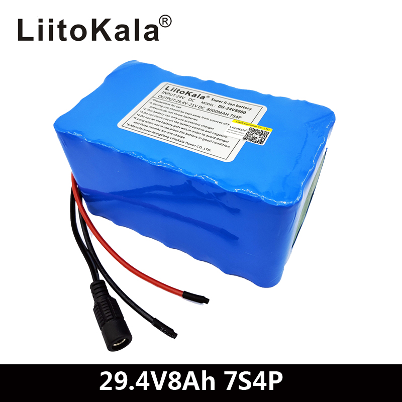 LiitoKala 24V 7S4P 8000mAh high power 8AH 18650 Lithium Battery pack with BMS 29.4V Electric bicycle electric carLiitoKala 24V 7S4P 8000mAh high power 8AH 18650 Lithium Battery pack with BMS 29.4V Electric bicycle electric car
