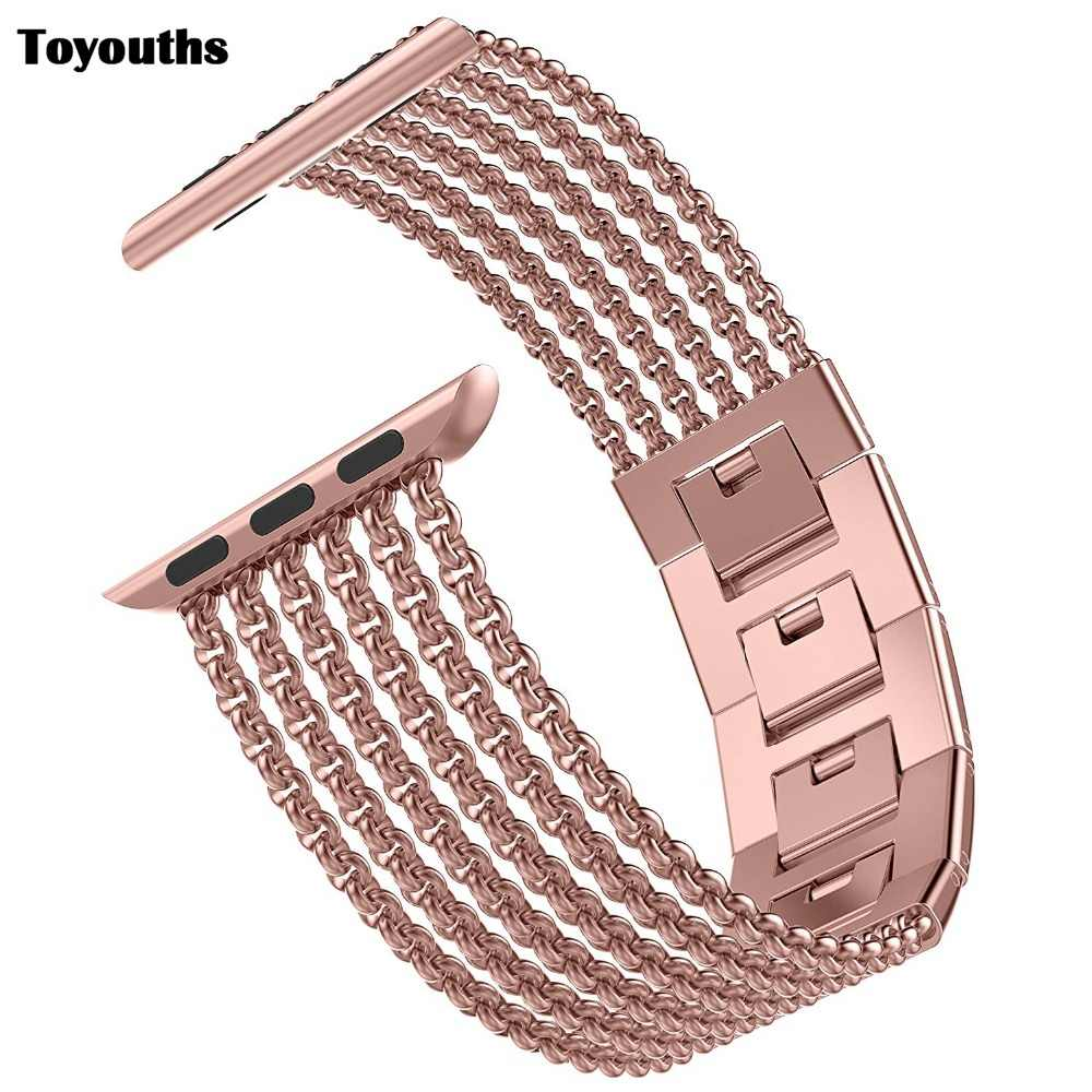 Toyouths for Apple Watch Band iWatch Womens Mesh Loop Stainless Steel Replacement Metal Beauty Strap 38/40mm 42/44mm