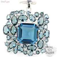 Guaranteed Real 925 Solid Sterling Silver 10.6g London Blue Topaz SheType Pendant 40x34mm
