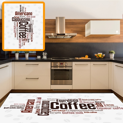 Else White Floor On Americano Latte Coffee Writen 3d Print Non Slip Microfiber Kitchen Modern Decorative Washable Area Rug Mat
