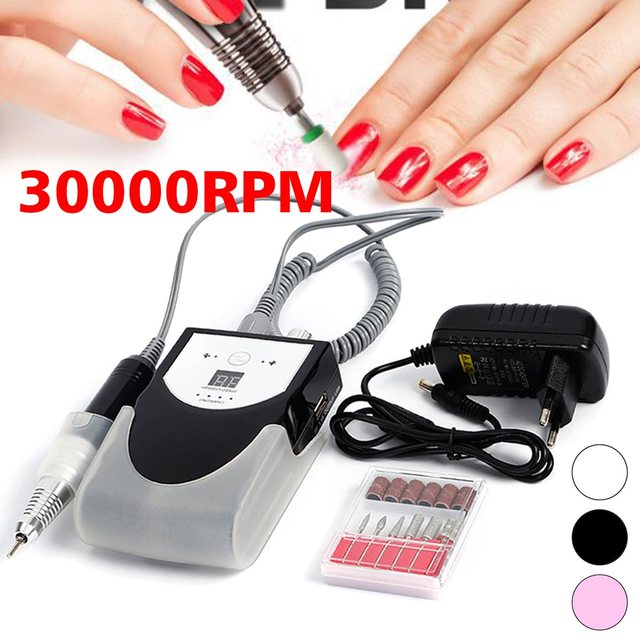 Rechargeable 30000rpm Electric Nail Drill Machine Acrylic File Polishing Polisher Cordless Manicure Pedicure Kit Set
